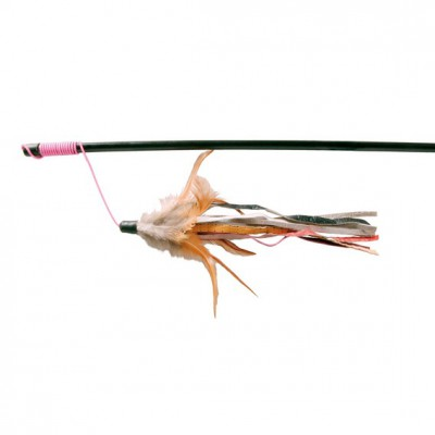 Ādas rotaļlieta-makšķere ar spalvām 50 cm
